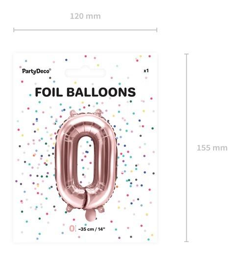 Metallic Ballon Zahl 0 roségold 35cm 5