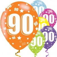 6 Holo 90th Birthday Luftballons 28cm