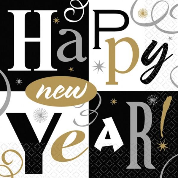 16 serviettes de table Sparkling New Year 25cm