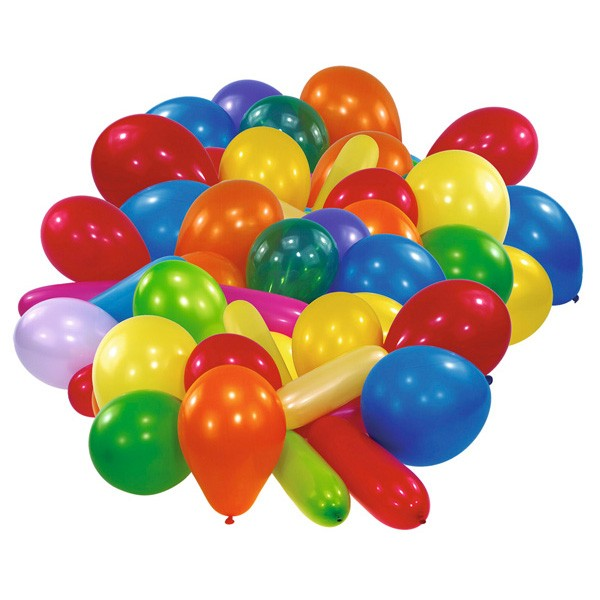 10 colorful balloons of different shapes