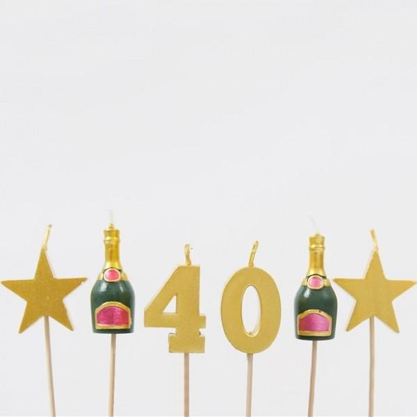 Set kaarsjes voor 40e verjaardagstaart 6 stuks