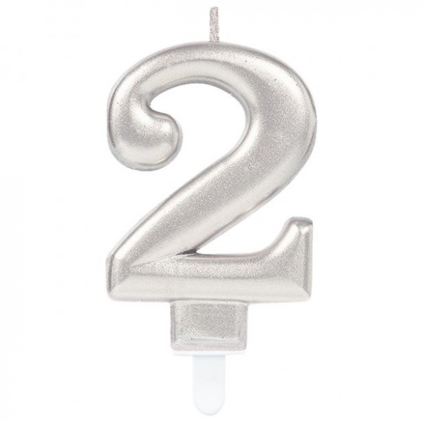 2 ° compleanno Candela torta color argento