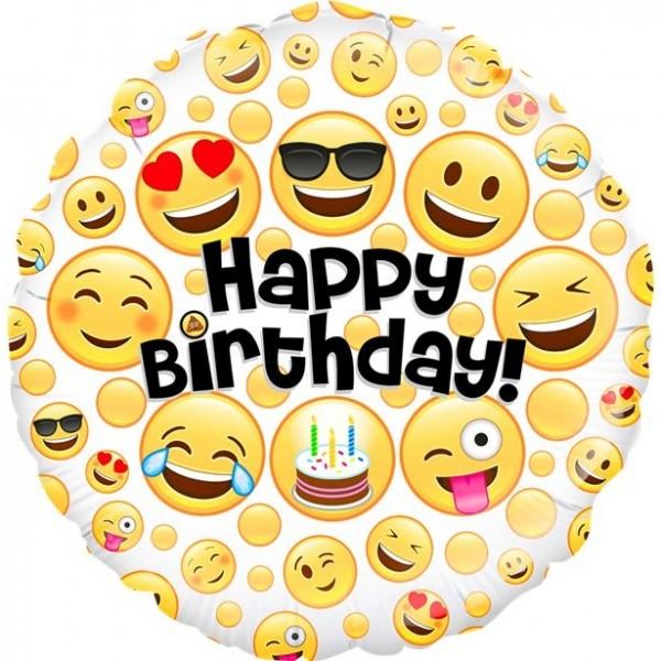 Emoji Birthday foil balloon 46cm