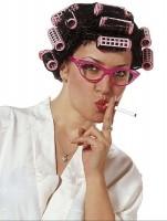 Perruque bigoudi femme au foyer Cliché