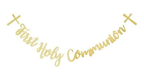 Communie belettering slinger goud 2m