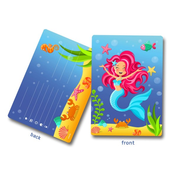 8 cartes d'invitation Mermaid Aquata