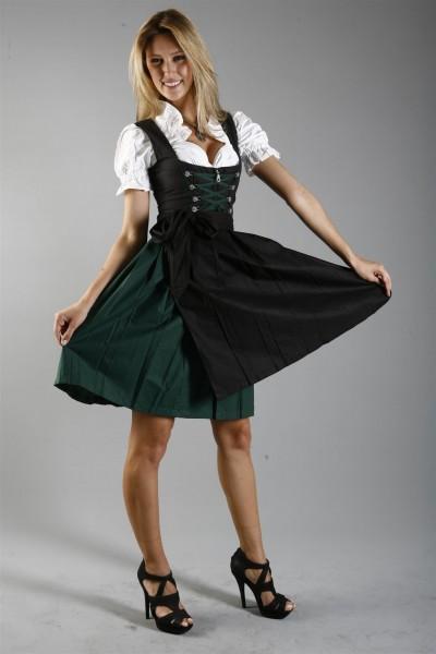 Midi Dirndl Rosi in schwarz-grün mit Bluse