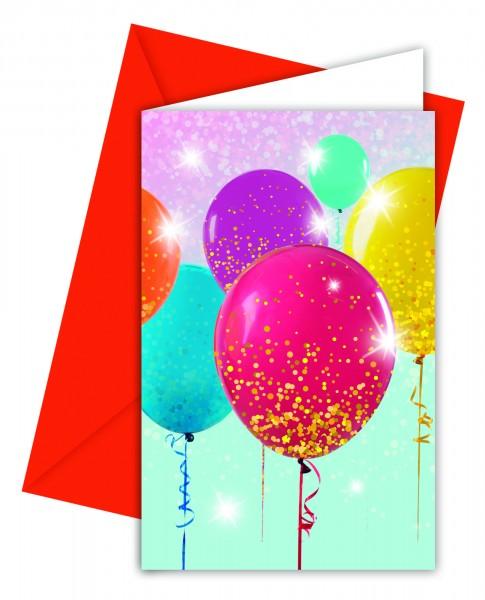 6 Sparkling Balloon Einladungskarten