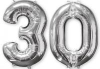 Folienballon Zahl 30 silber 66cm