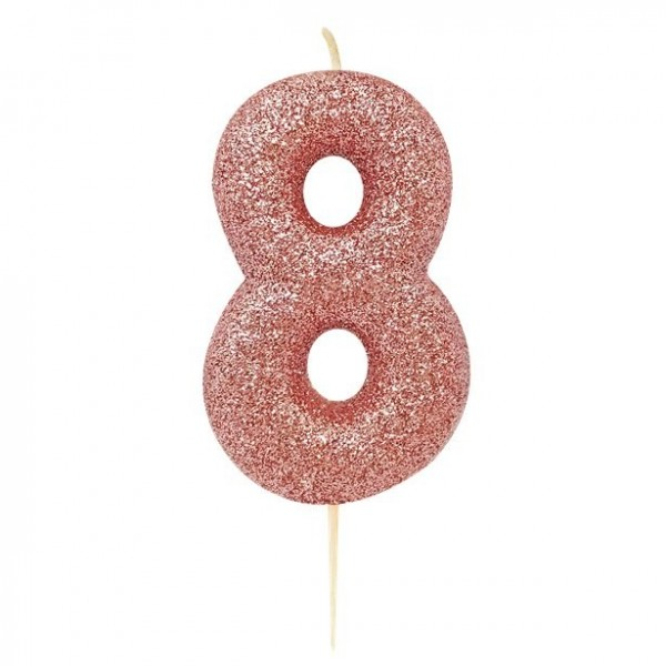 Glittering number 8 cake candle red gold 7cm