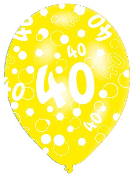 6 globos Burbujas 40 cumpleaños coloridos 27.5cm