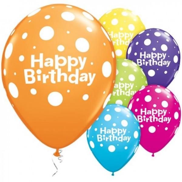 6 Happy Birthday Latexballons gepunktet bunt 28cm