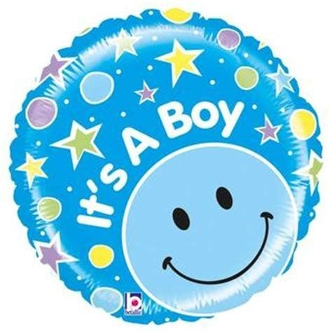 Ballon en aluminium heureux bébé garçon avec smiley