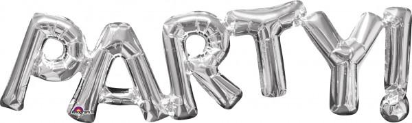 Folieballon belettering feest zilver 83x22cm