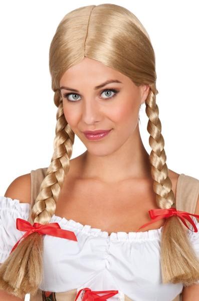 Peluca de mujer bávara Liesl rubia con lazos