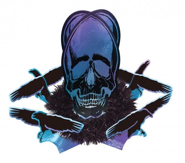 Shimmer Skull Centrepiece Tischdeko 35,8cm