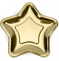 6 Goldene metallic Stern Pappteller 23cm
