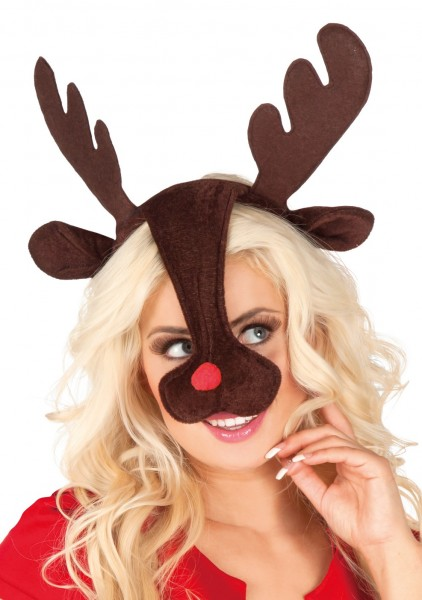 Reindeer headband with antlers and nose