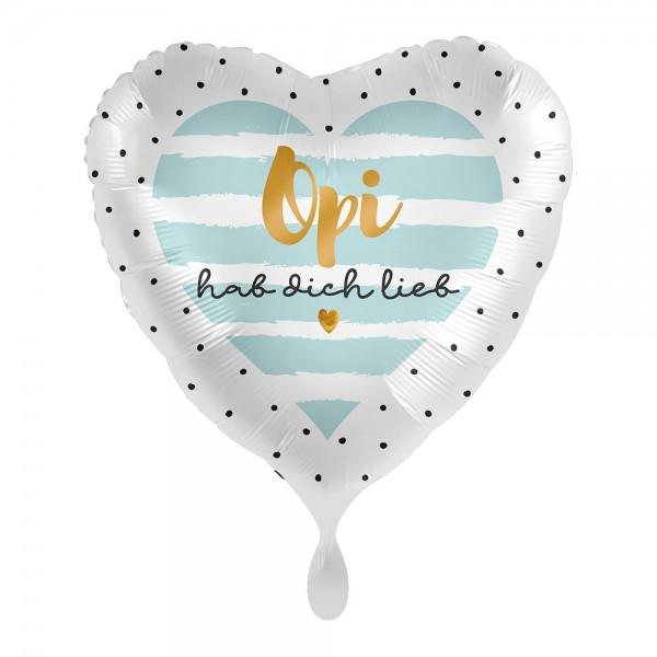 Opi hab dich lieb Herz Folienballon 43cm