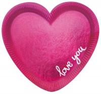 6 assiettes en papier Little Love Heart 20cm