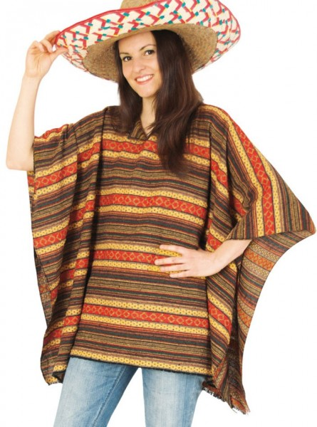 Gestreifter Fiesta Damen Poncho