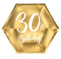 6 Glossy 30th Birthday Teller 20x17cm