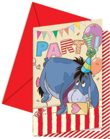 6 Party Winnie Puuh Einladungskarten