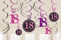 12 Pink 18th Birthday Spiralhänger 60cm