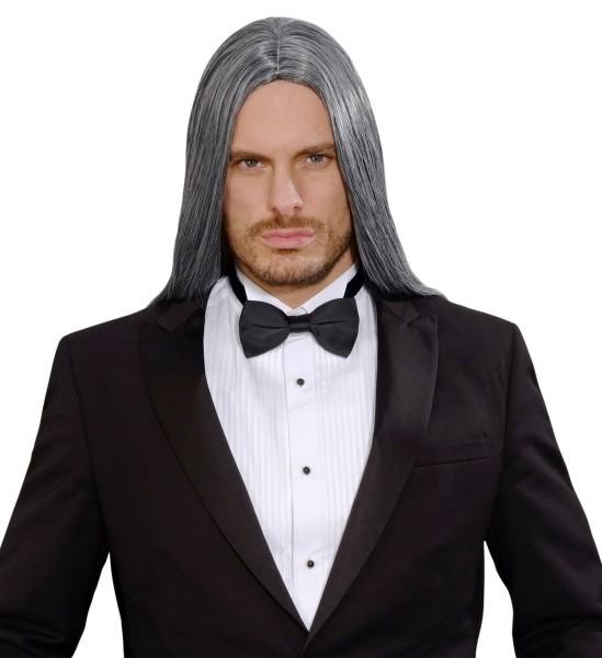 Perruque cheveux longs gris