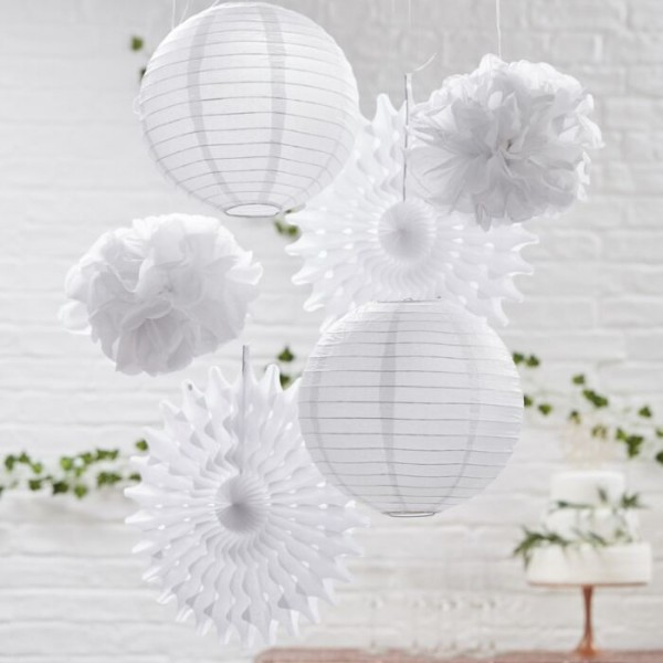 White hanging decoration mix 6 pieces