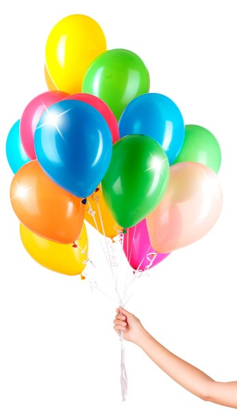 30 balloons with ribbon colored 23cm