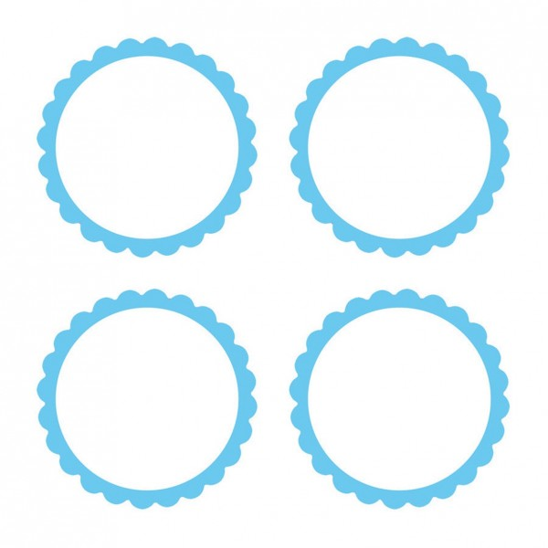 20 self-adhesive labels with pastel blue flower border