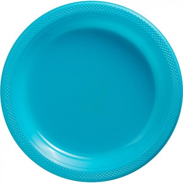 50 piatti in plastica turchese Basilea 26 cm