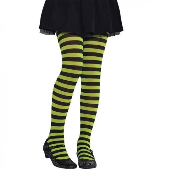 Ringelstrumpfhose grün-schwarz für Kinder Gr. 104