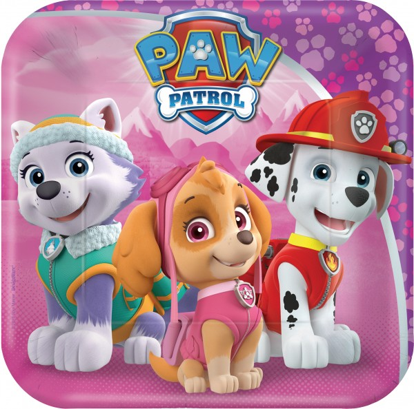 Piatto di carta 8 Paw Patrol Girls 18cm