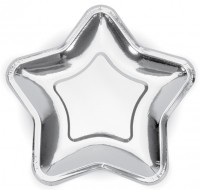 6 Silver Rush Star Paper Plates 23cm