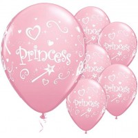 6 Rosa Princess Luftballons 28cm