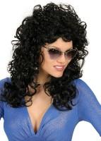 Perruque bouclée cheveux longs noirs
