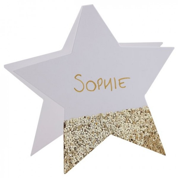 6 golden glitter star place cards 10cm