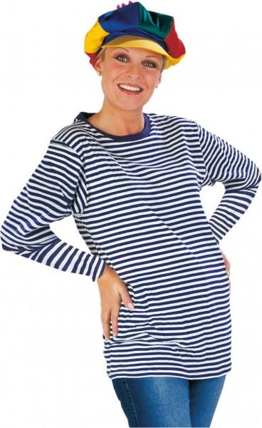 Jersey azul de rayas manga larga para mujer