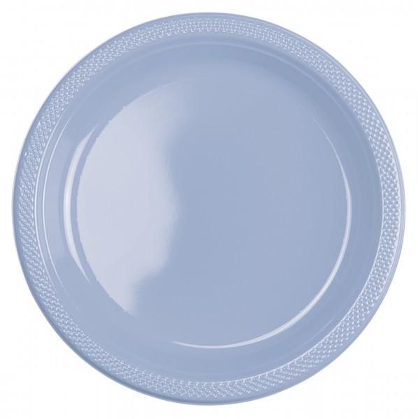 10 assiettes en plastique bleu pastel 23cm