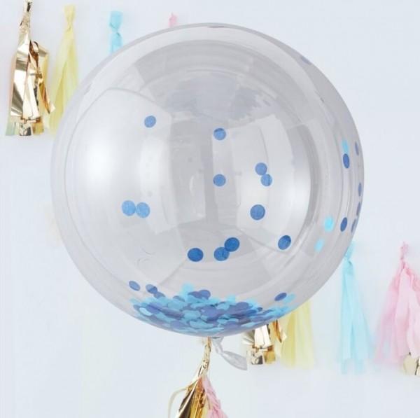 Ballon boule confettis bleu 91cm