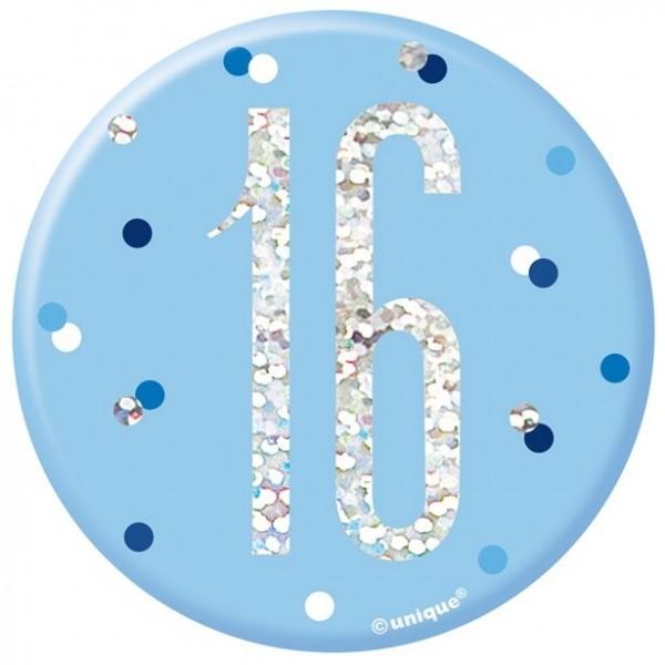16. Geburtstag Ansteckbutton blau 7cm