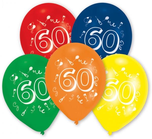 10er St bunte Zahl 60 Luftballons