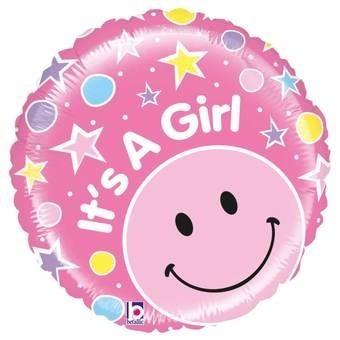 Ballon en aluminium heureux bébé fille avec smiley