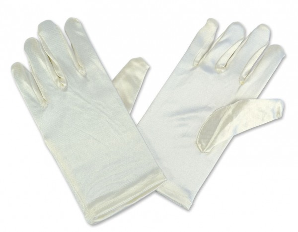 Cream-colored satin gloves for children