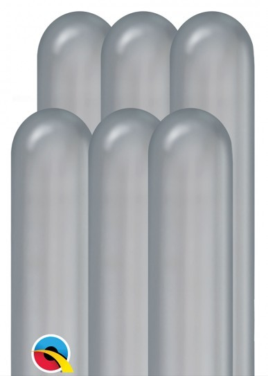 100 palloncini modellabili metallici argento 1,5 m