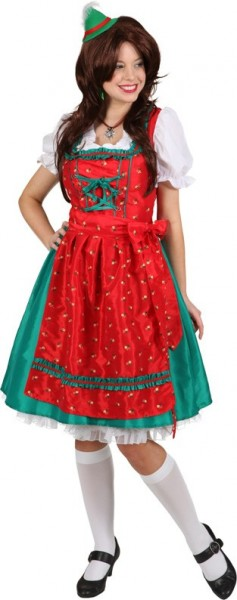 Weihnachtsdirndl Sabrina in Rot-Grün