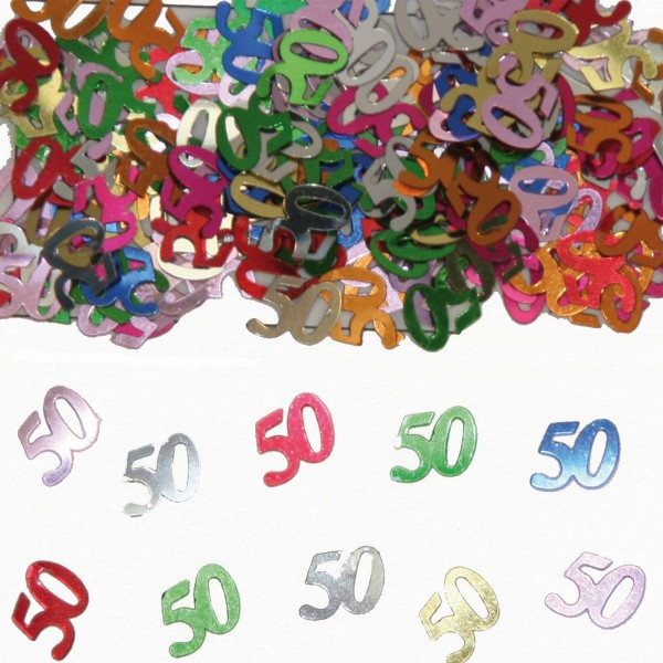 Colorful number 50 metallic scattered decoration