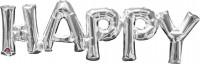 Folienballon Schriftzug Happy silber 76x25cm